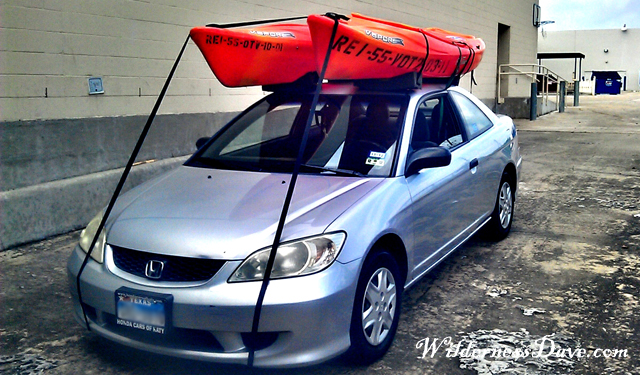 Twin kayaks on the Honda