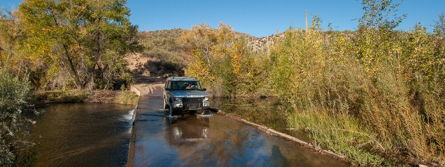 Crossing Cherry Creek in the Range Rover - by Jabon Eagar - Sierra Ancha Wilderness