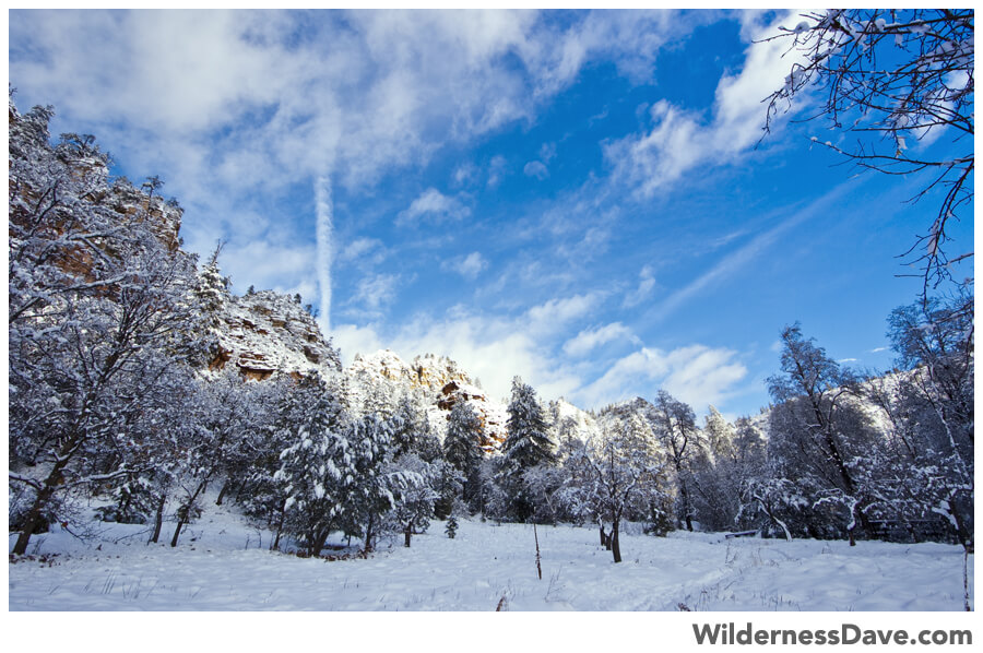 white snow and bright sky at West Fork Oak Creek
