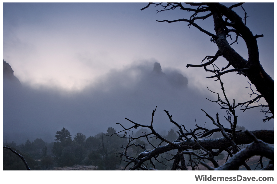 misty fog clinging to the rock