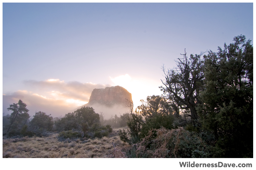 misty clouds streaming off Bell Rock