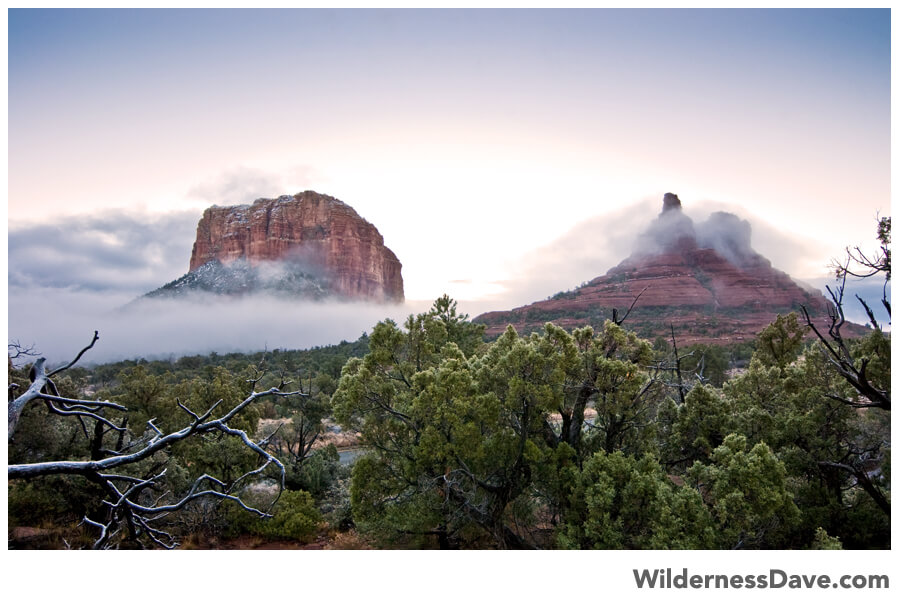 Bell Rock in the morning mist at sunrise
