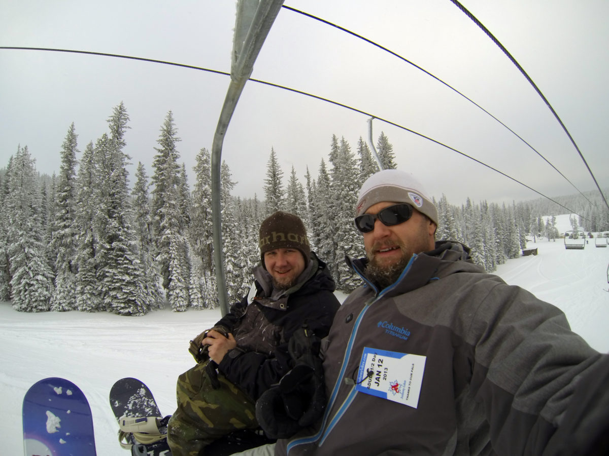 Winter in Oregon - my brother and I on the lift