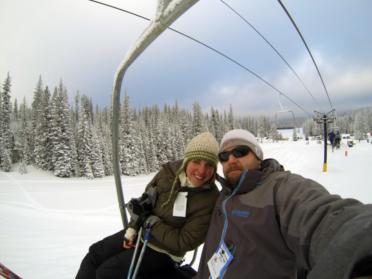 Winter in Oregon - Merelyn and I on the lift