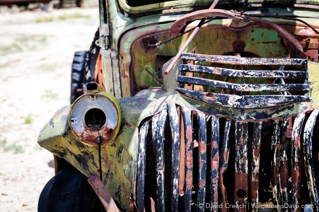 old rusty antique truck wreckage in Gold Point